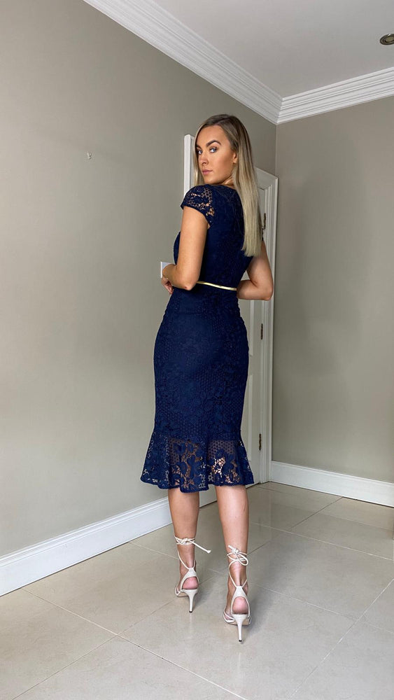 Victoria Belted Navy Lace Dress