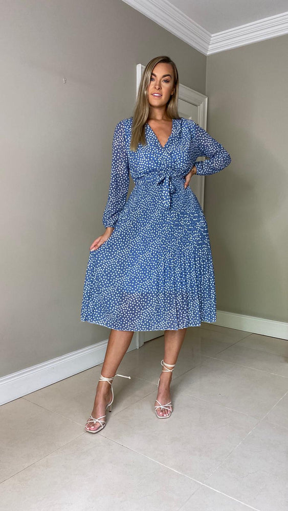 Cathy spot dress - blue