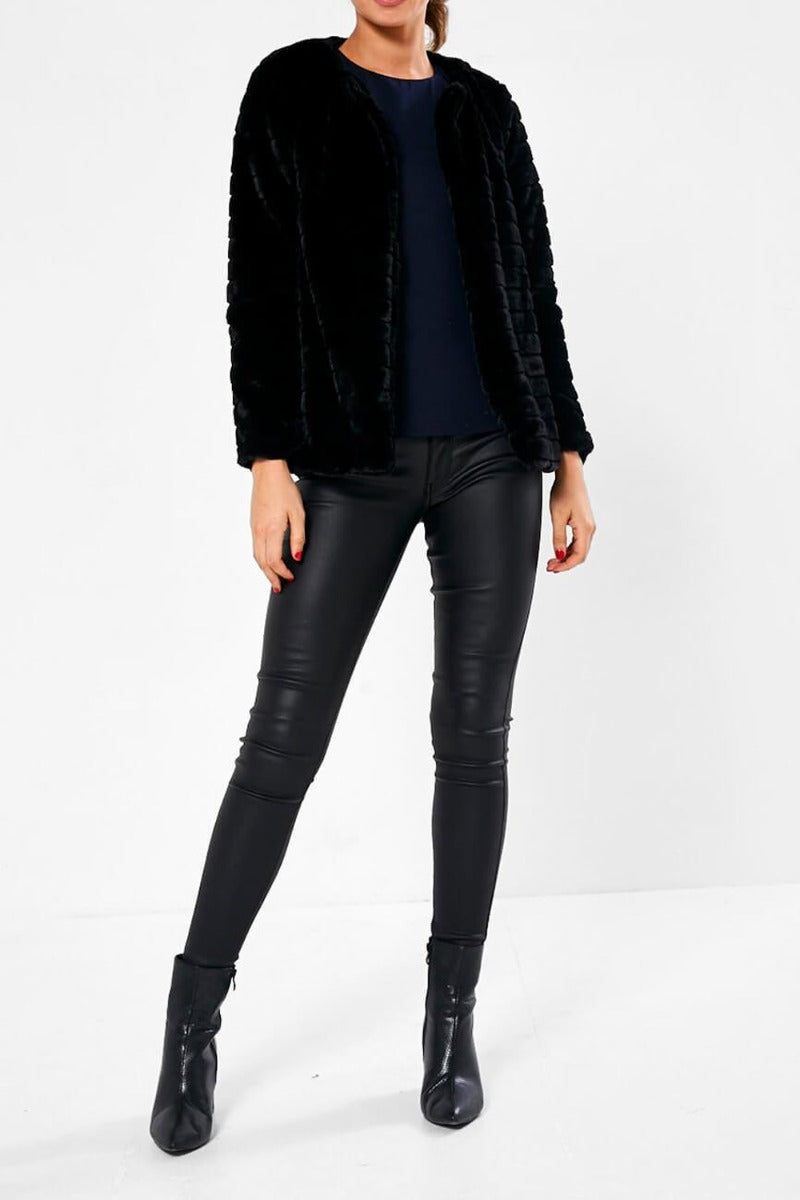 Grace Cropped Faux Fur Jacket in Black