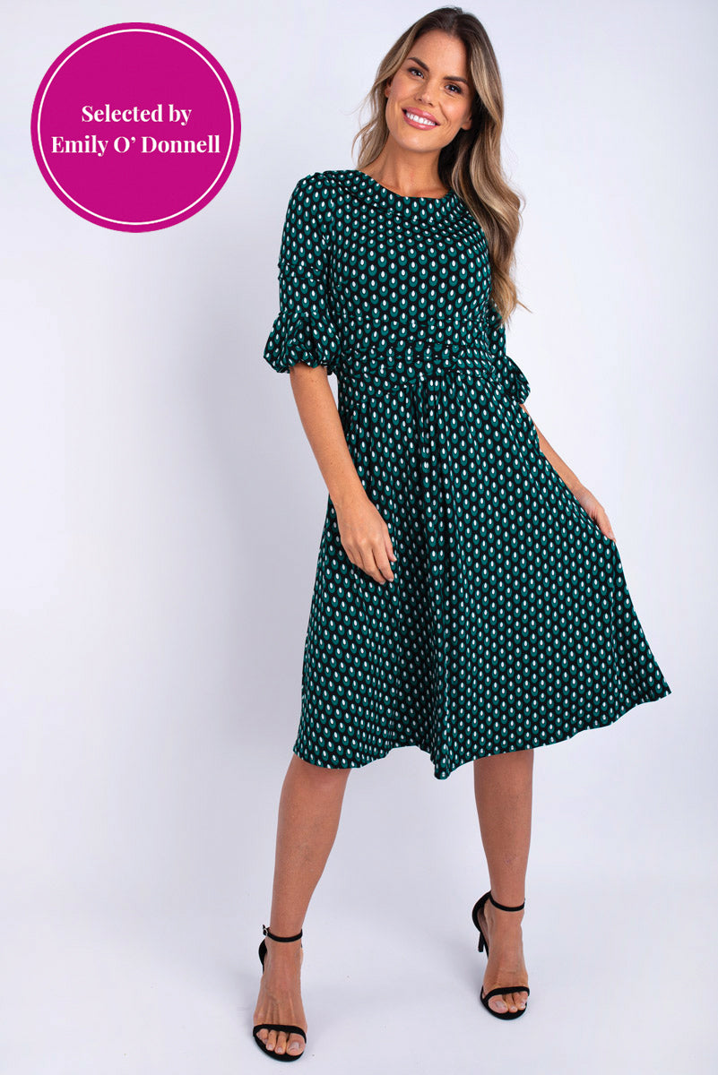 Ealga Printed Midi Dress - Green