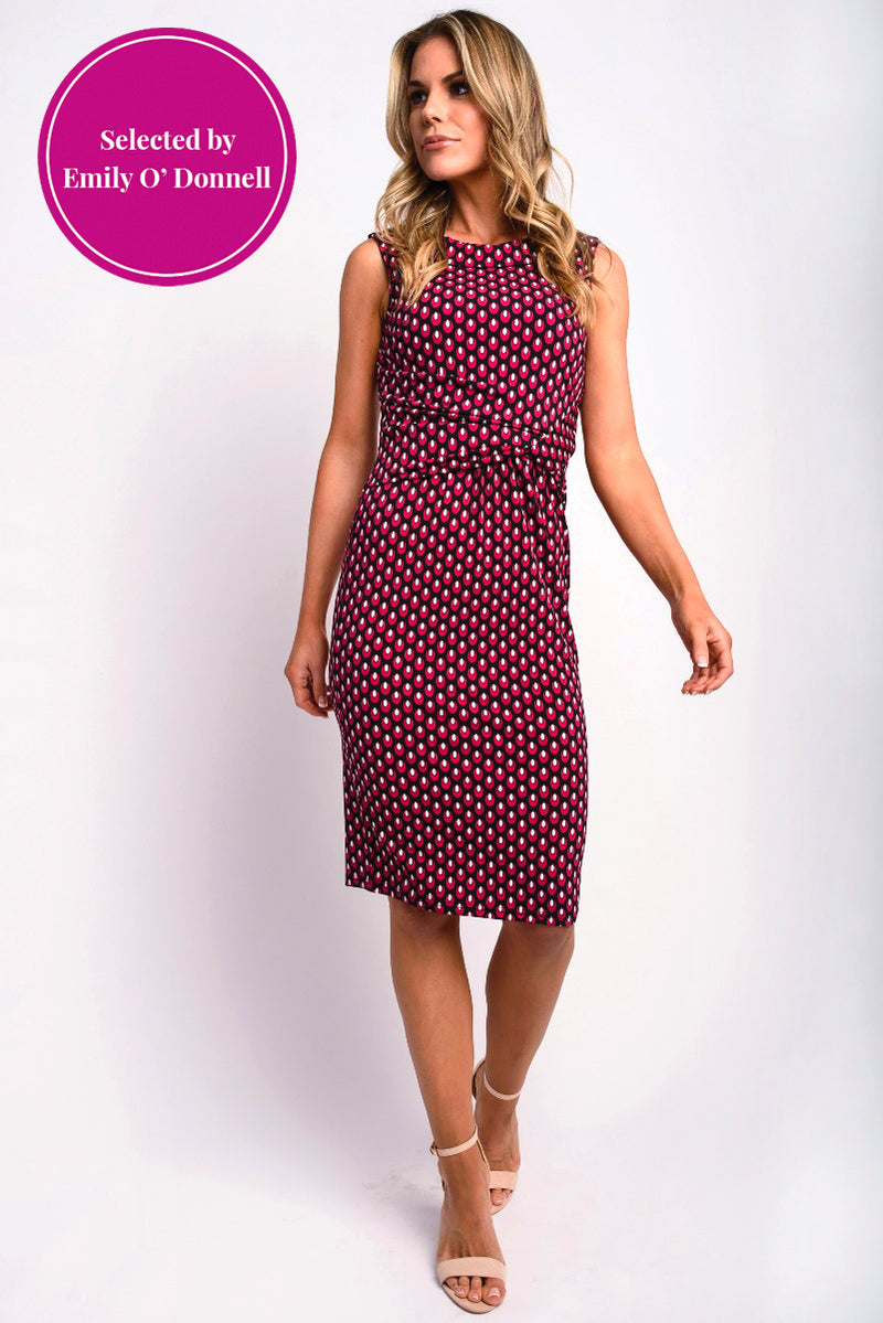 Julia Sleeveless Geo Print Dress Pink