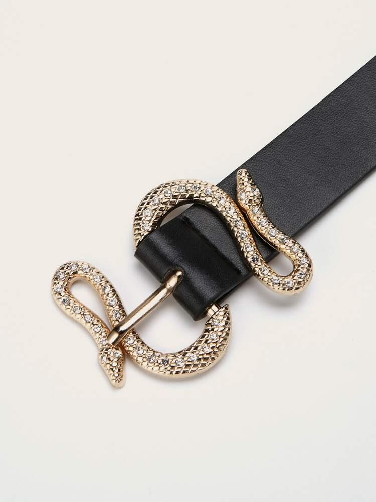 Serpentine buckle belt - black