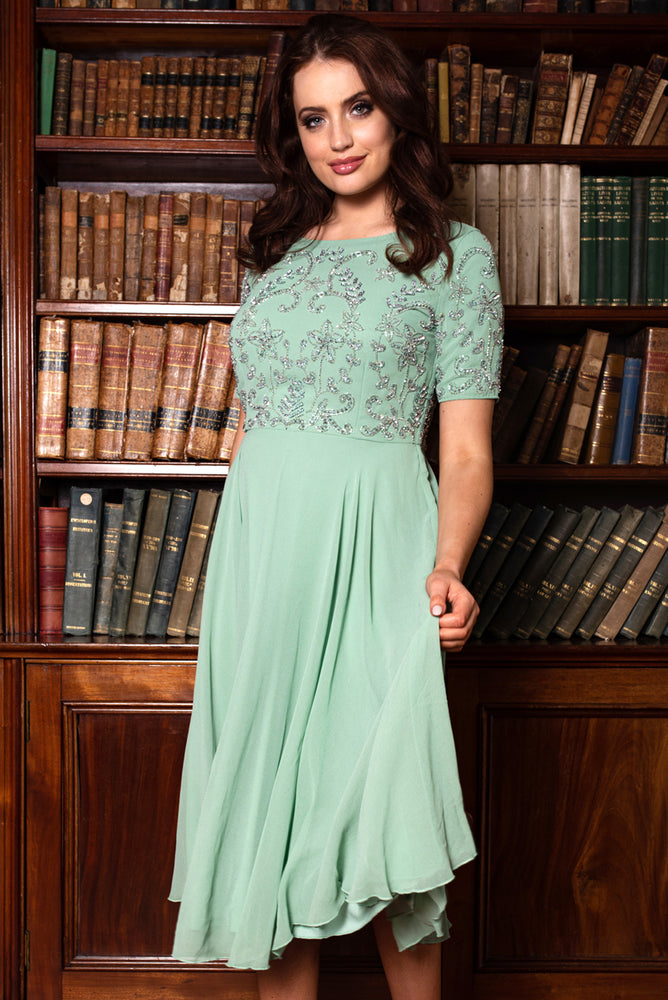 Amelia Sequin Mint Green Dress