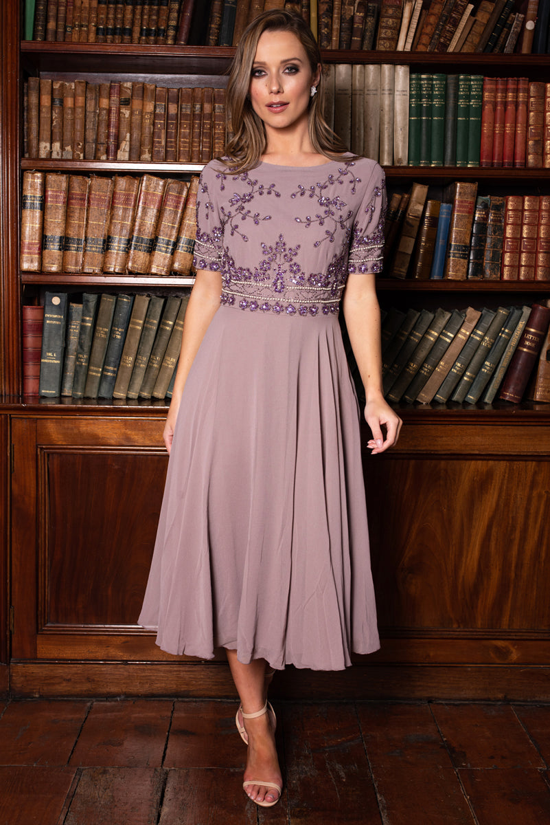 Amelia Sequin Mauve Dress