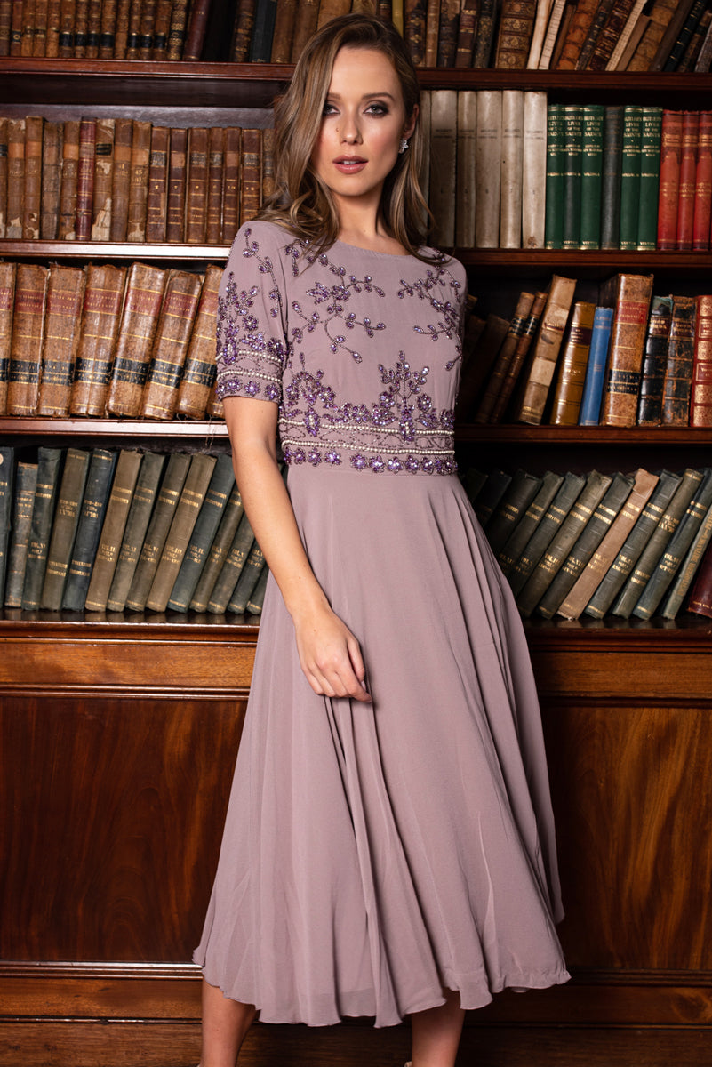 Mary Embellished Purple Dress