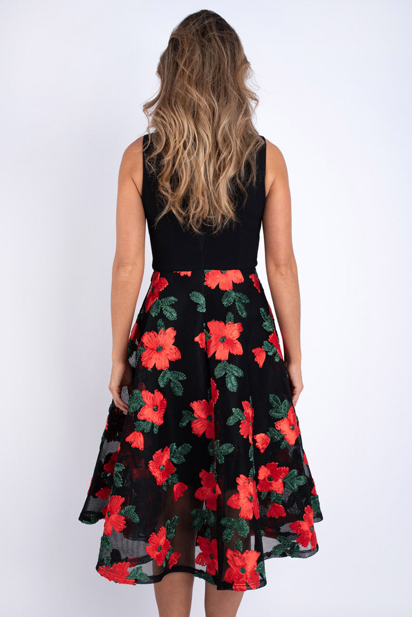 Dana Floral Black and Red Dress