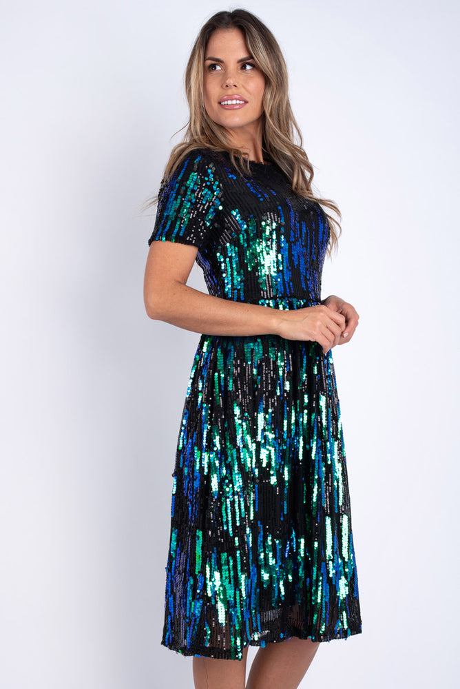 Amelie Sequinned Dress - Green