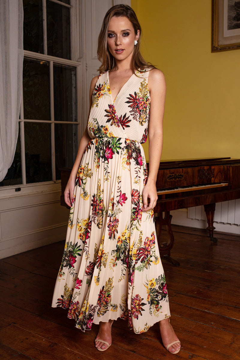 Fiona Cream Pleated Floral Print