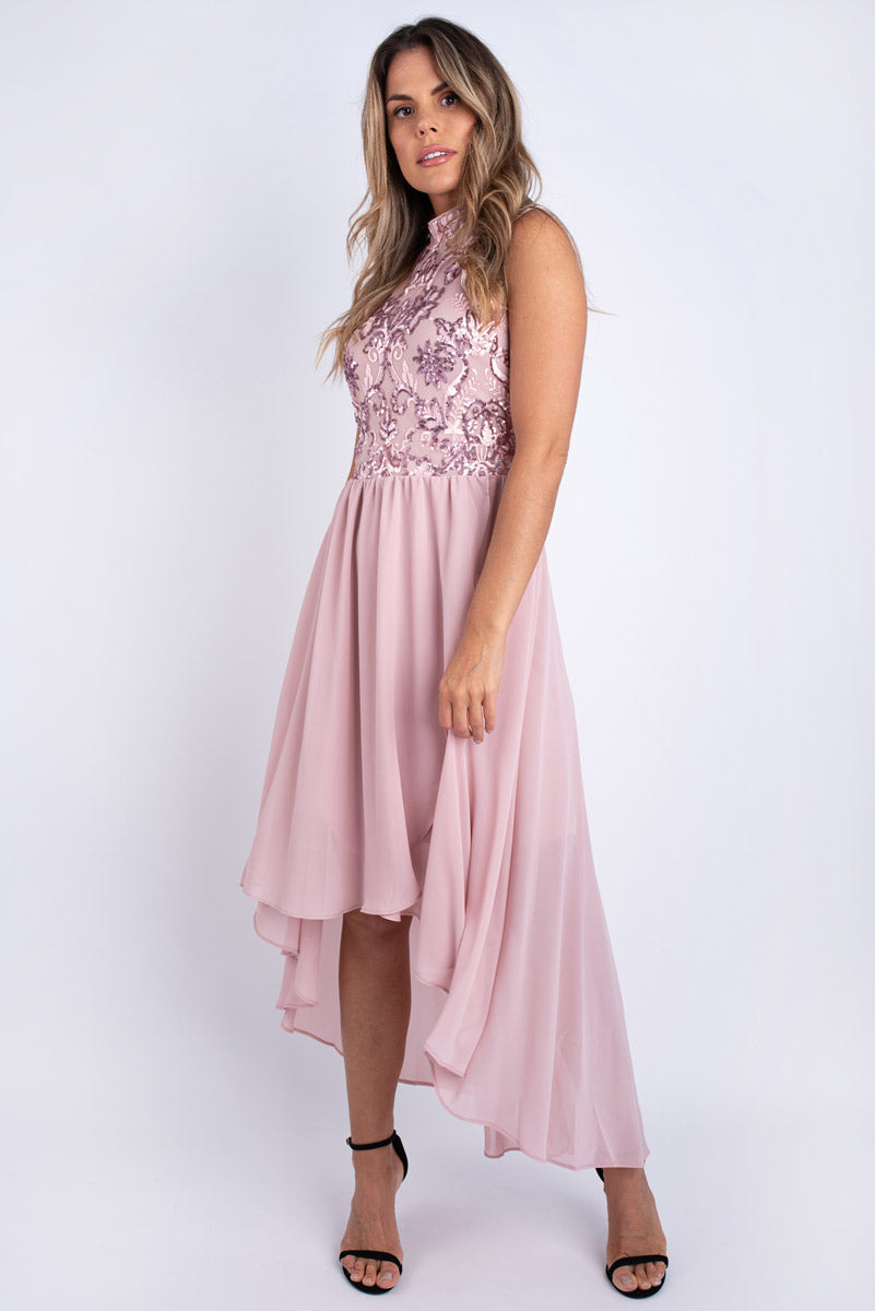 Shannon High Neck Pink Dress