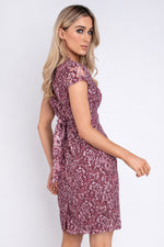 Brigid Belted Lace Dress - Wine