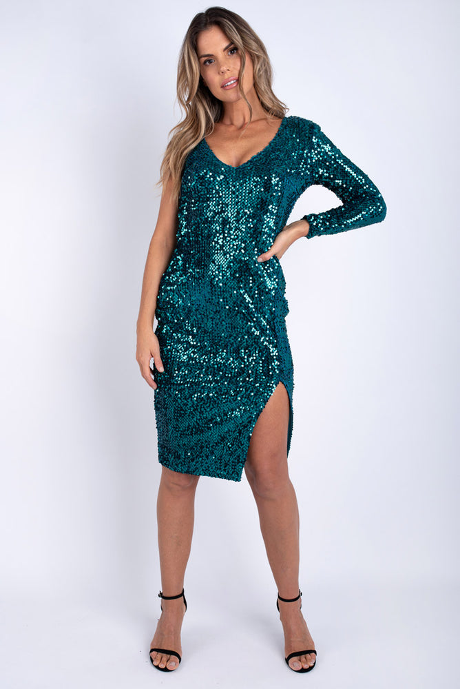 Sinead One Sleeve Dress - Green