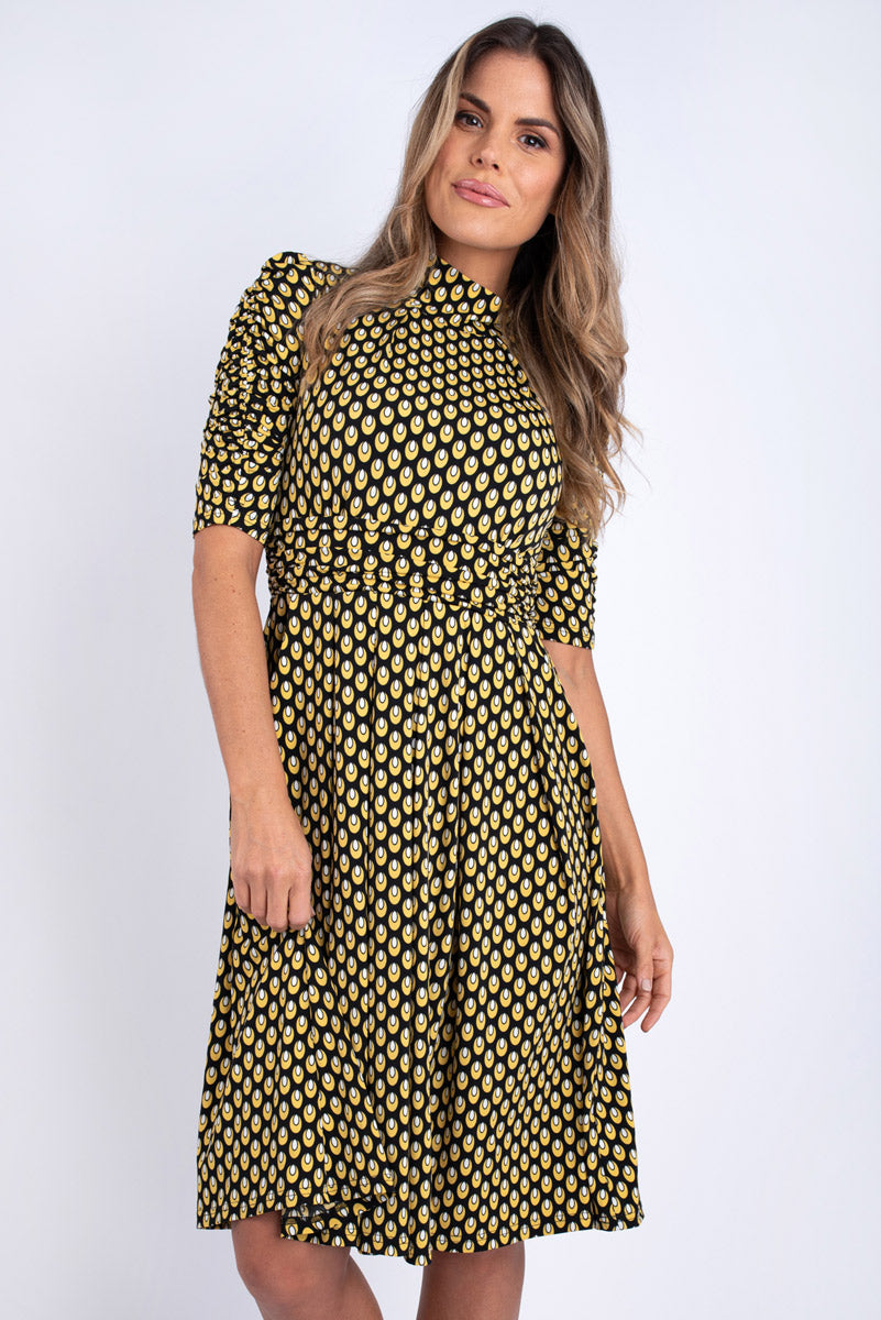 Ealga Printed Midi Dress - Yellow
