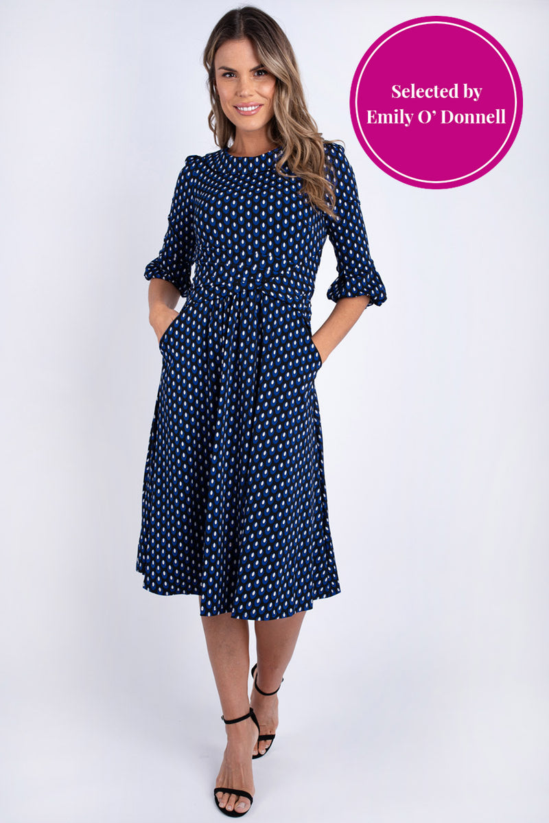Ealga Printed Midi Dress - Navy