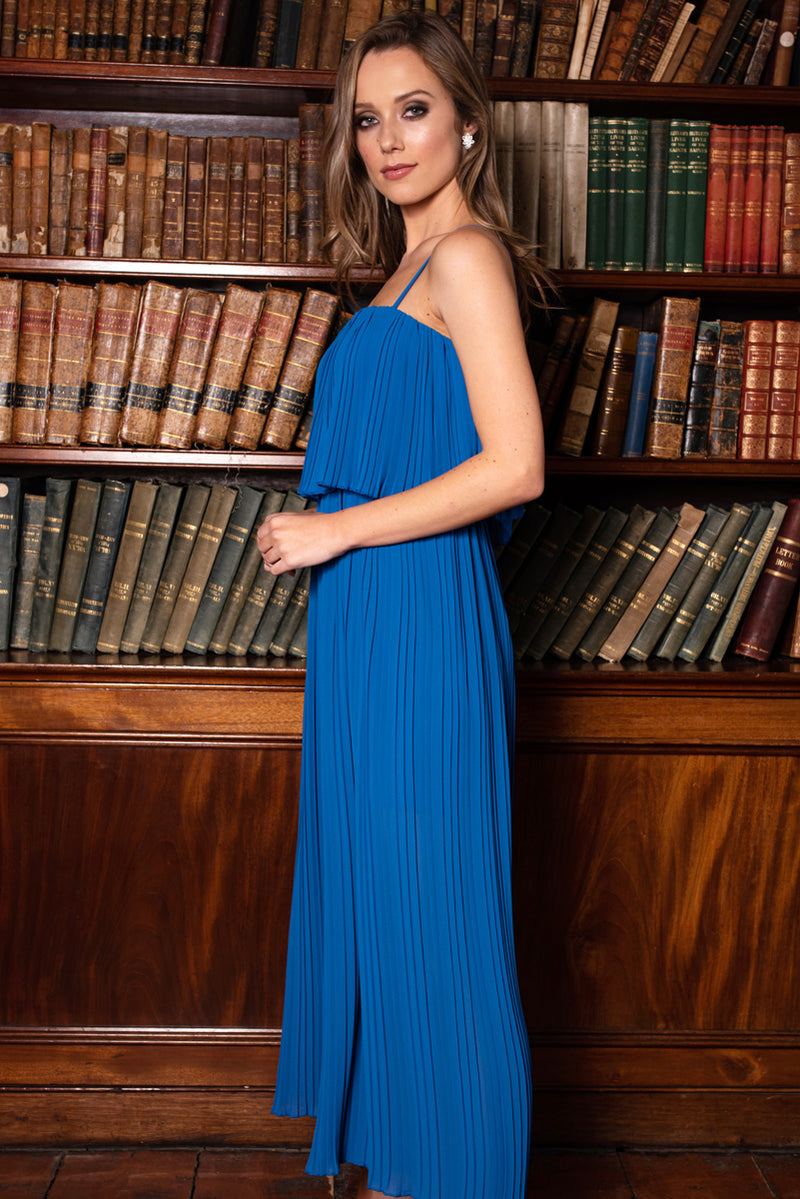 Celeste Pleated Jumpsuit - Blue
