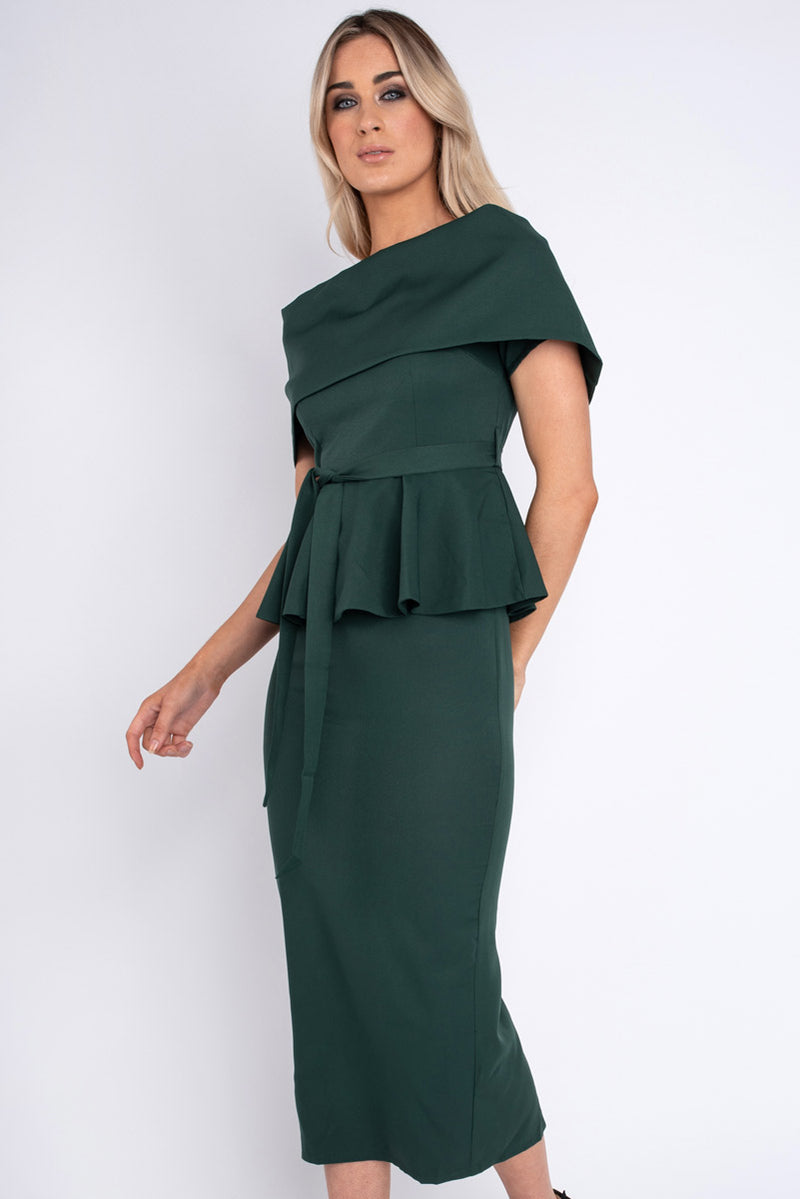 Shannon Green Deep Peplum Dress