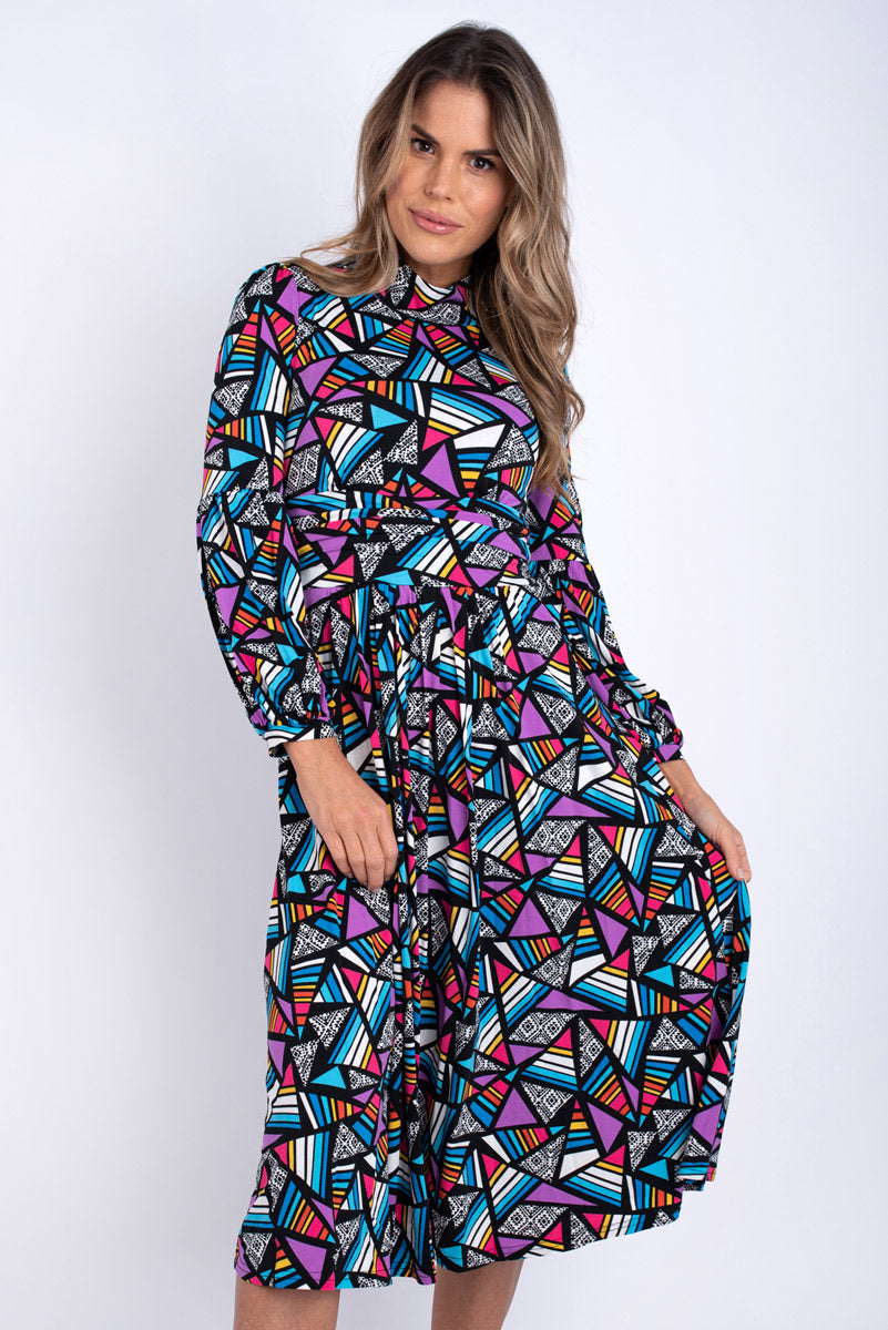 Elan Royal Geometric Printed Dress