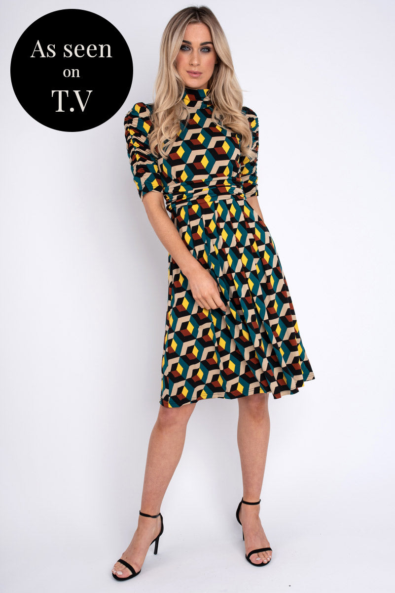 Christina High Neck Printed Midi Dress