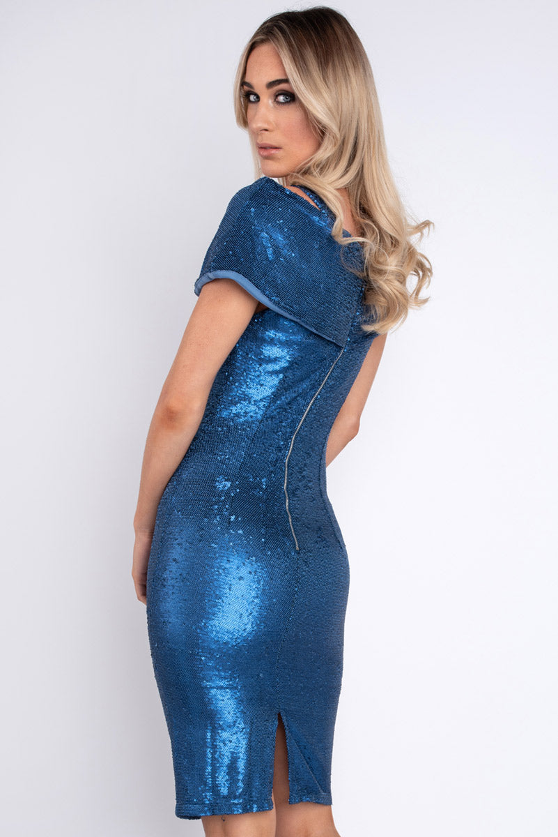 Judth Cover Shoulder Royal Blue Dress