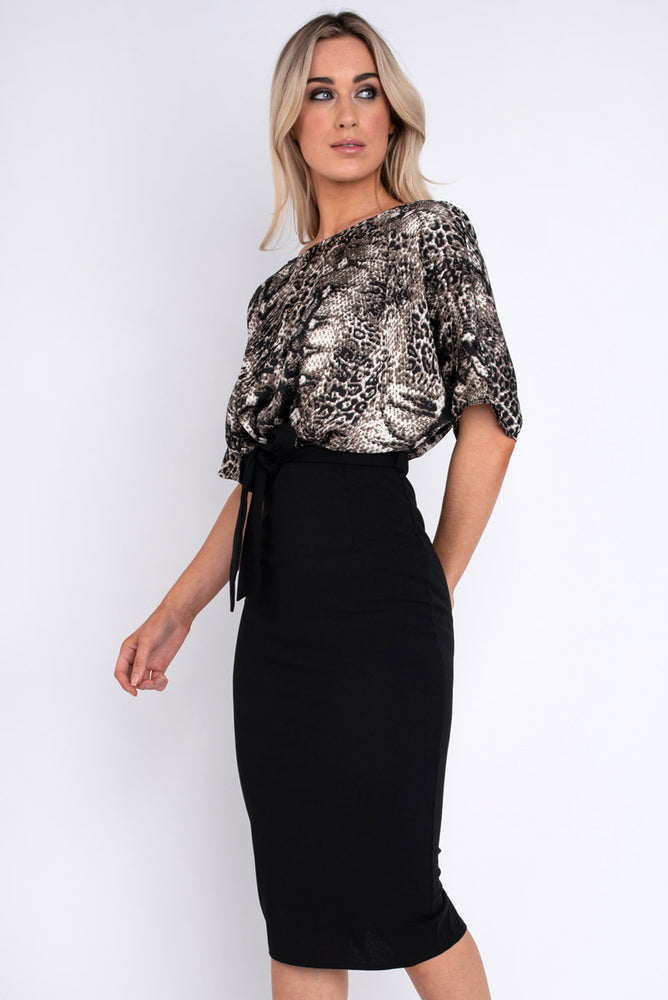 Salma Animal Print Cap Sleeve Dress with Plain Skirt