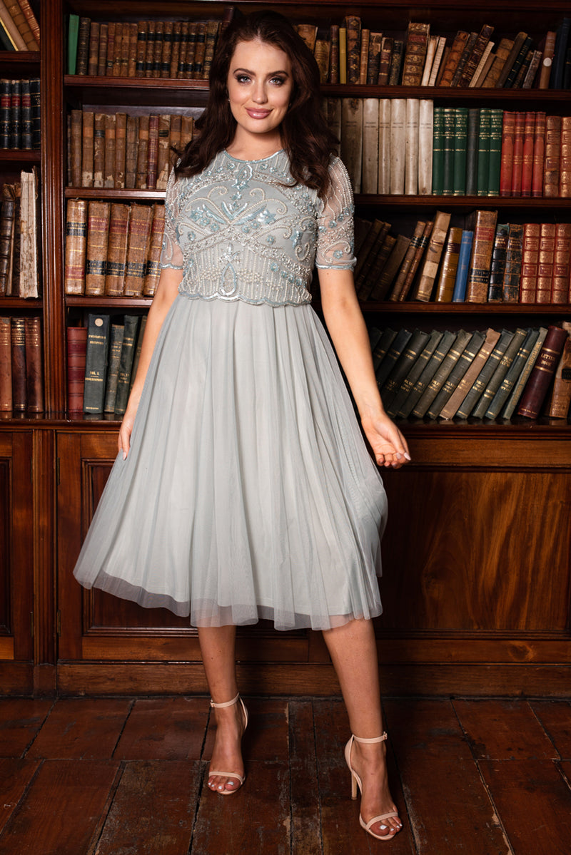 Bella Sequin Tulle Grey Dress