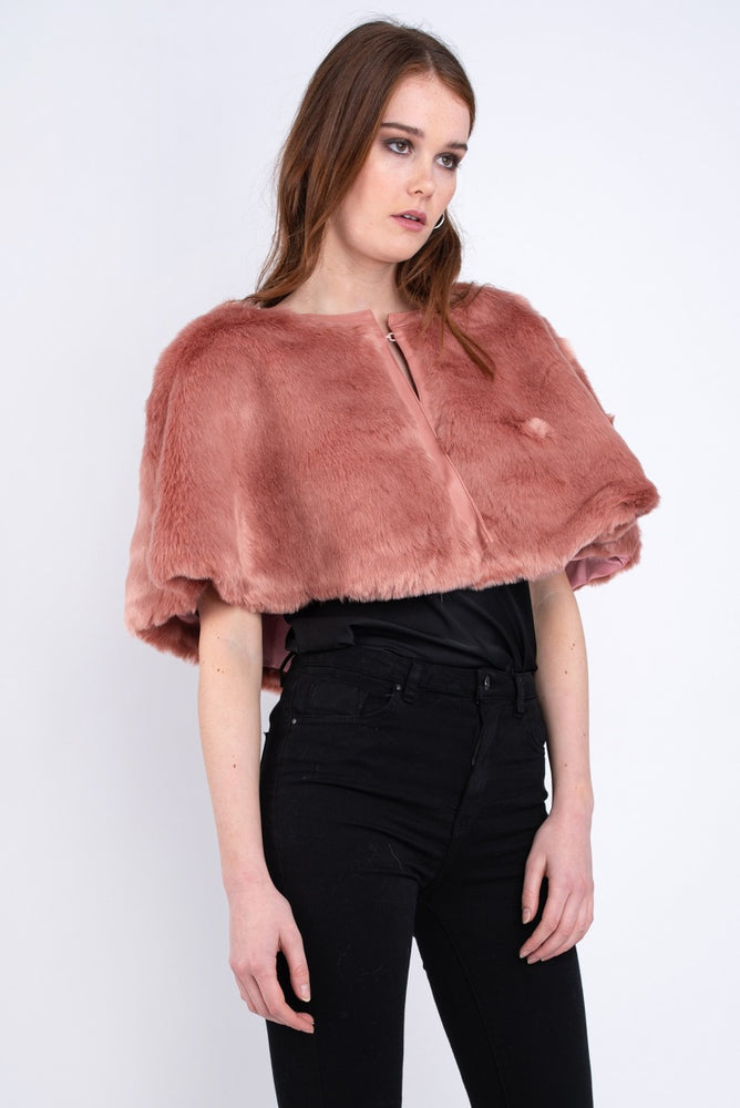 Katerine Faux Fur Wrap Blush