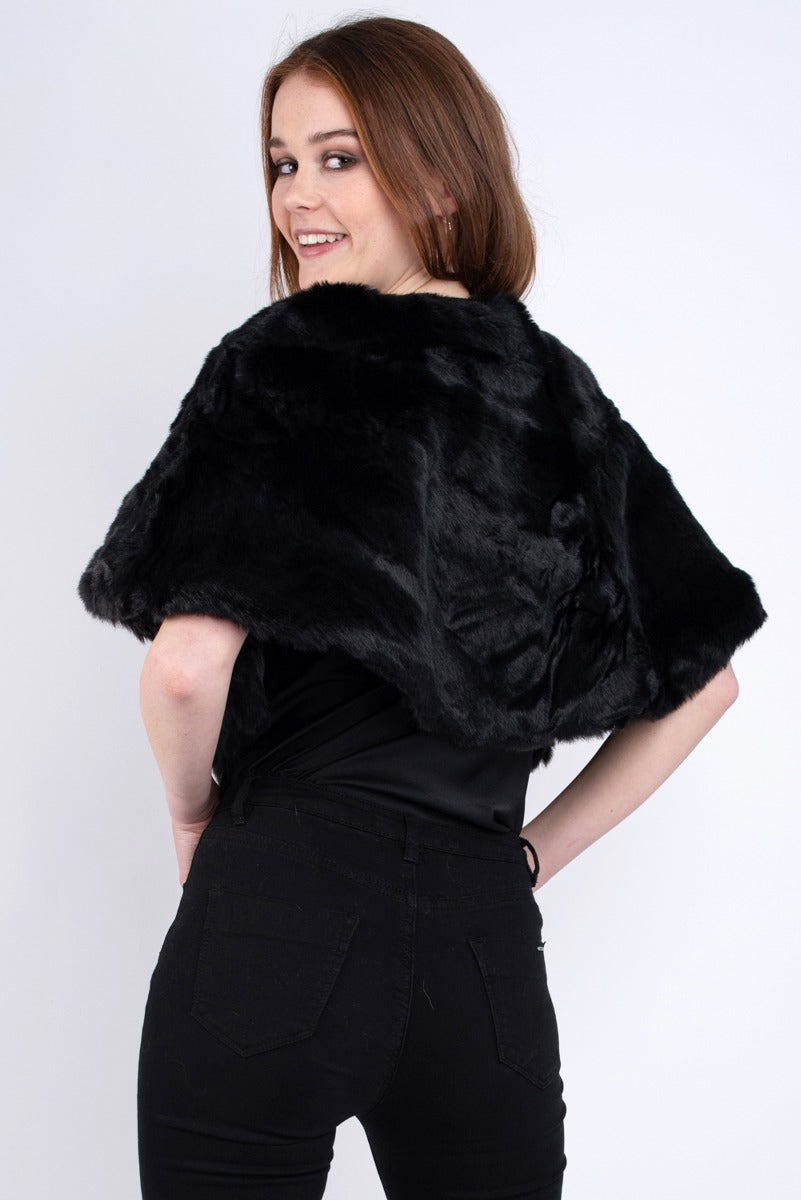 Katerine Faux Fur Wrap Black