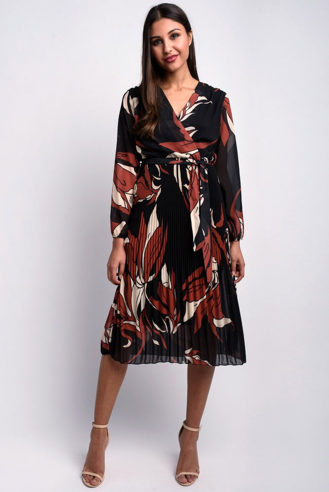 Pleat Skirt Wrap Dress