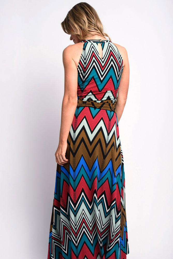 Chevron Print Maxi Dress Green