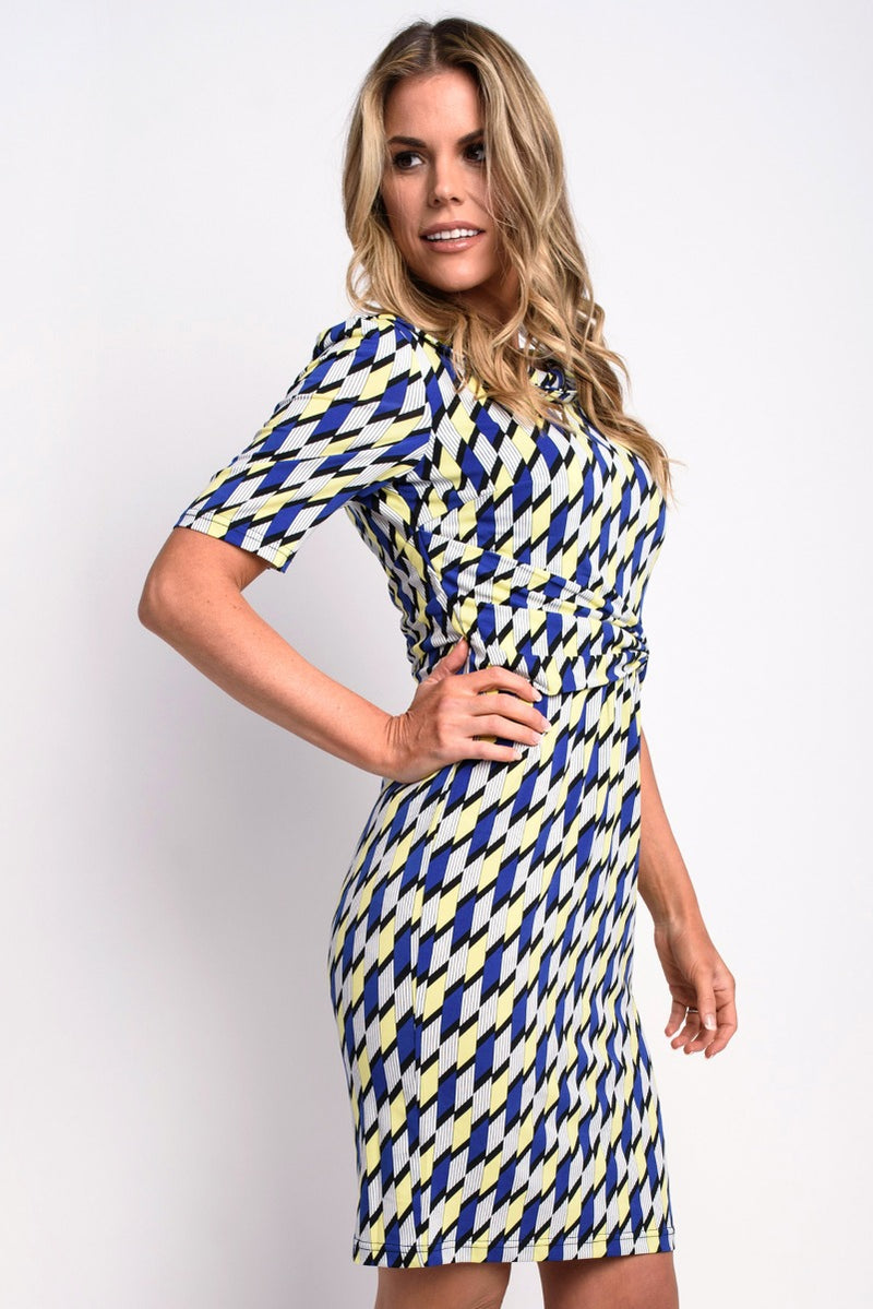 Leah Blue and Yellow Geo Print Jersey Dress