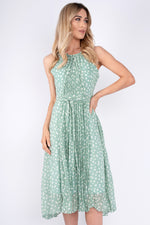 Crystal Pleated Polka Dot Dress - Mint Green