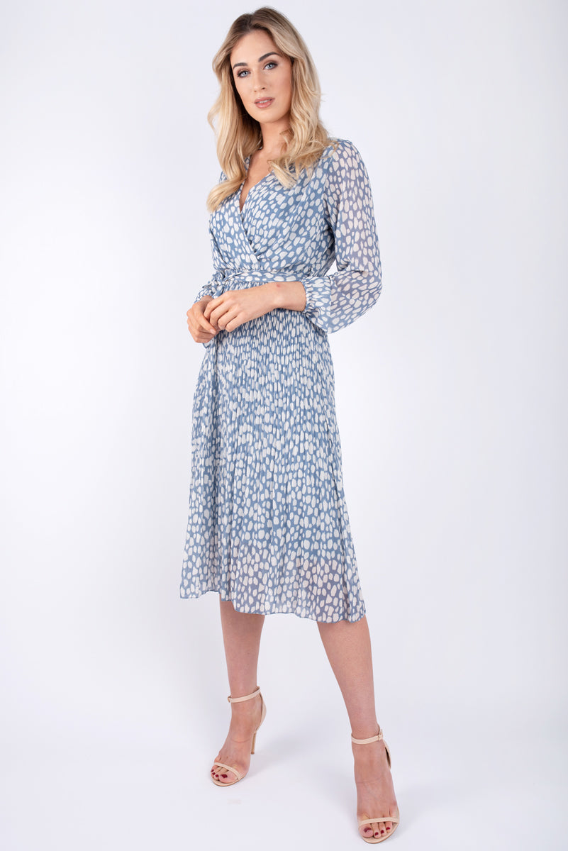 Jane Printed Pale Blue Faux Wrap Dress
