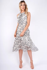 Crystal Pleated Printed Dress