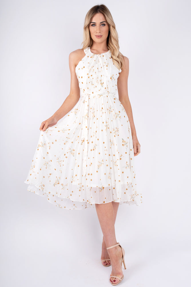 Crystal Pleated Print Dress - White