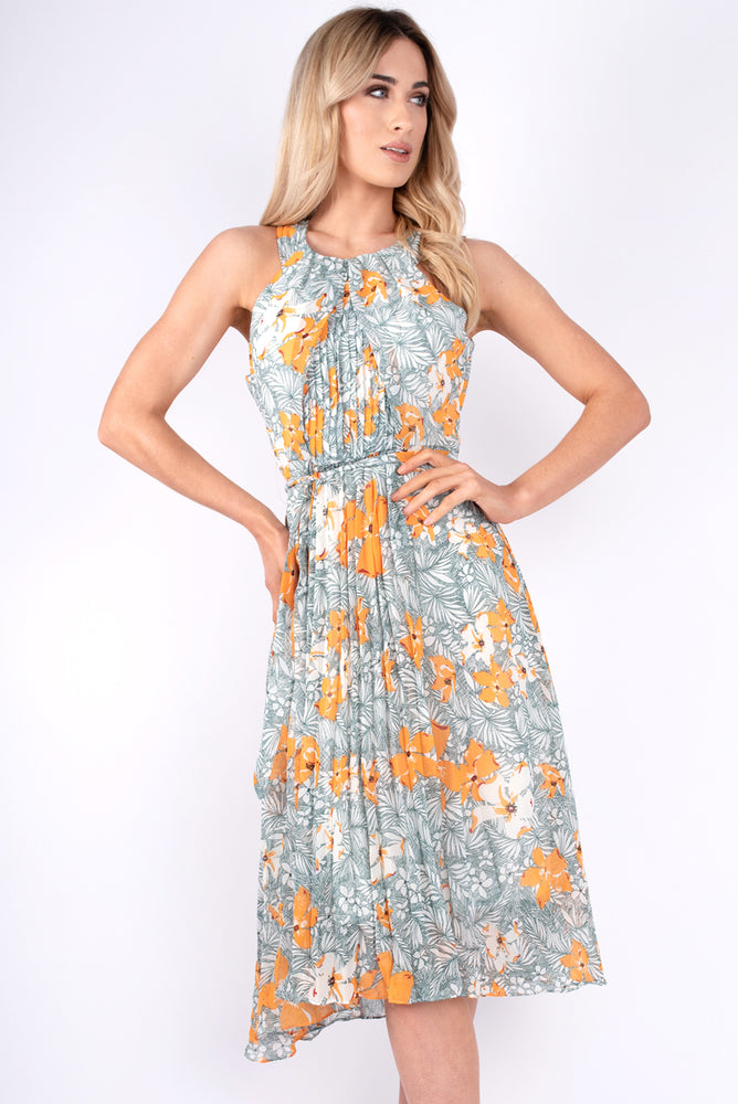 Crystal Pleated Floral Dress