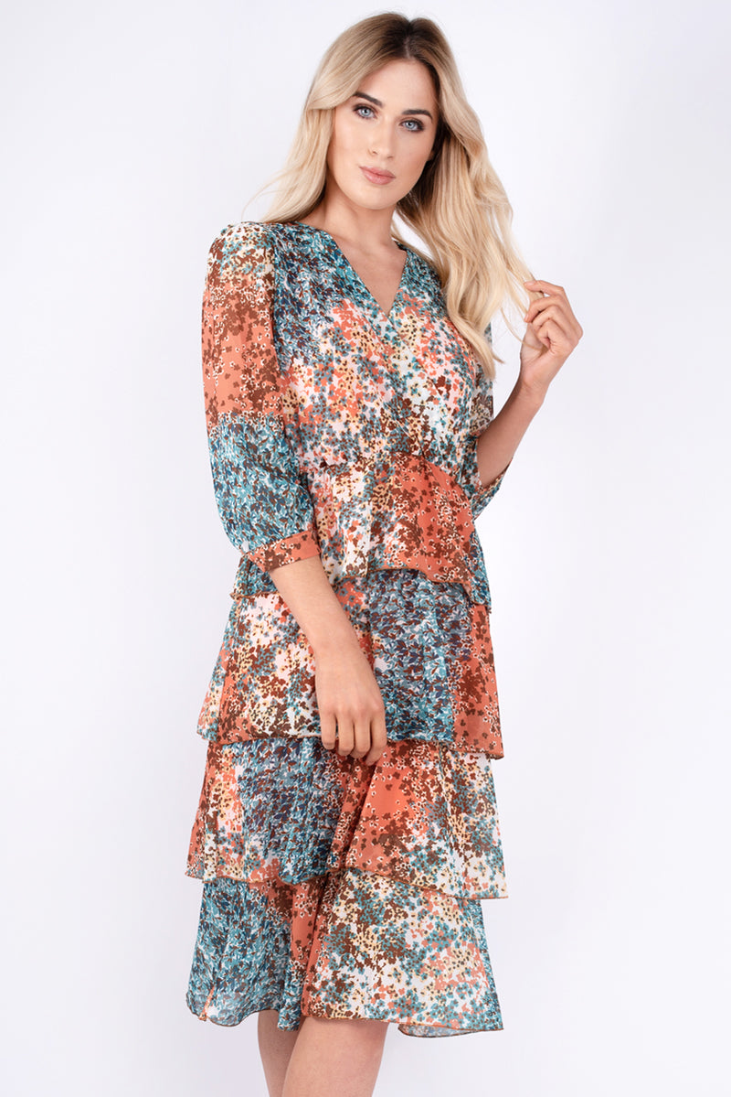 Gail Ruffle Printed Dress - Orange