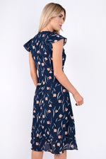 Jacqueline Floral Navy Wrap Dress