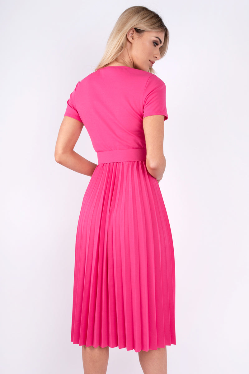 Dora Pleated Pink Dress