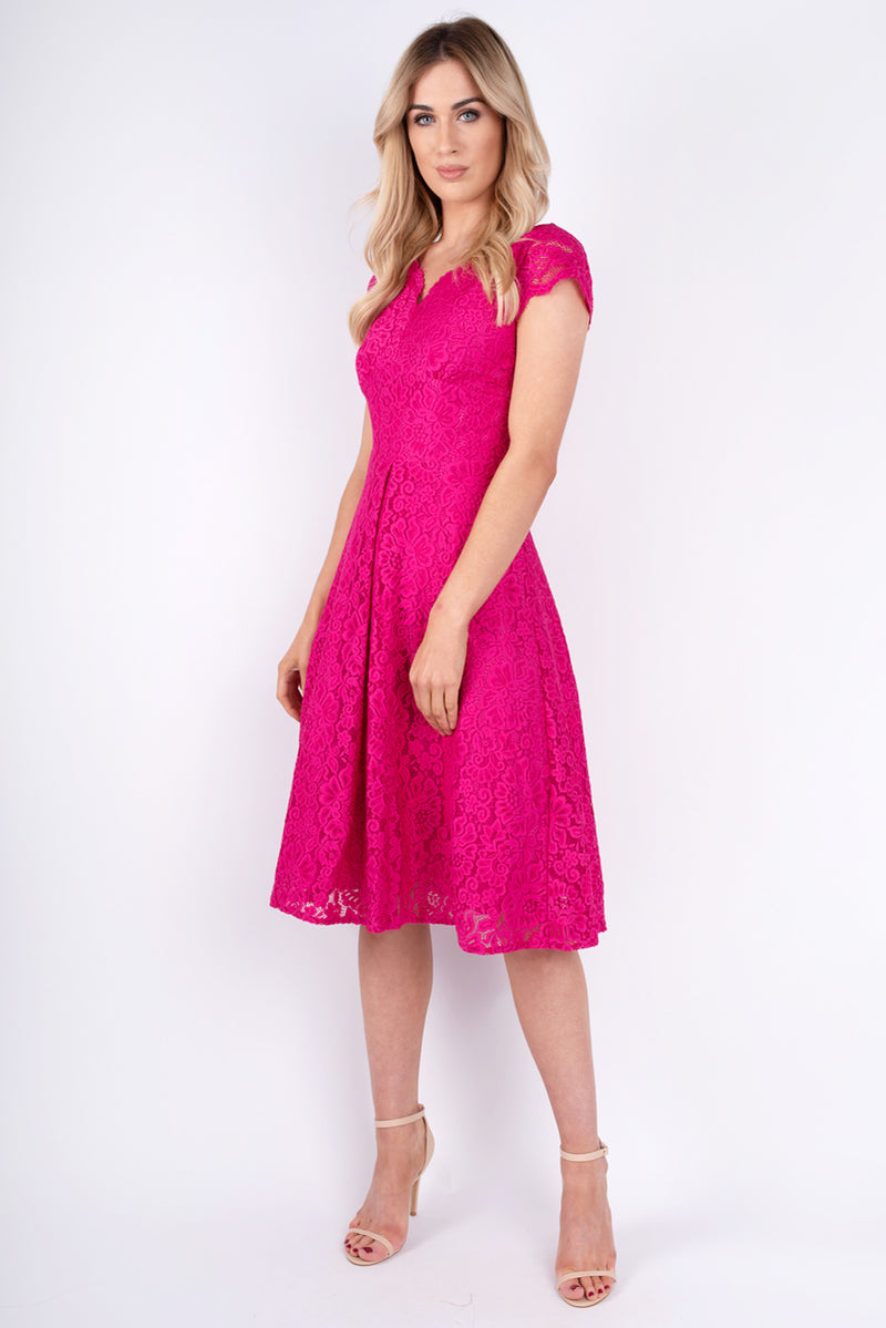 Helen Fuchsia Lace Dress