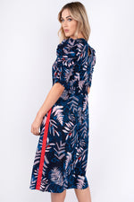 Cleo Puff Sleeves Printed Dress - Navy