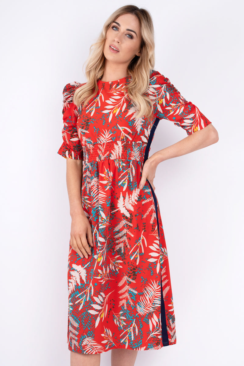 Cleo Puff Sleeves Printed Dress - Orange