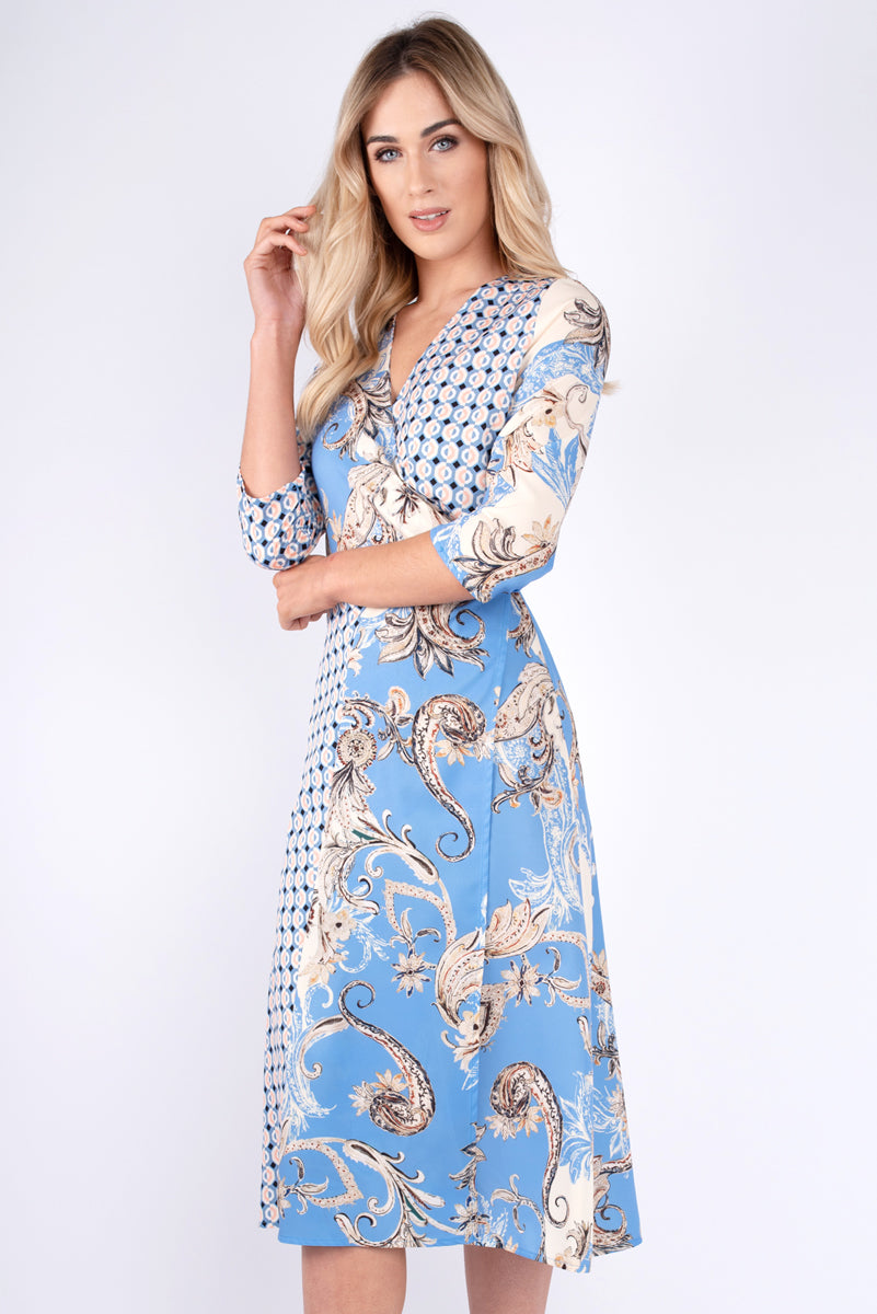 Faye Multi Print Wrap Dress - Blue