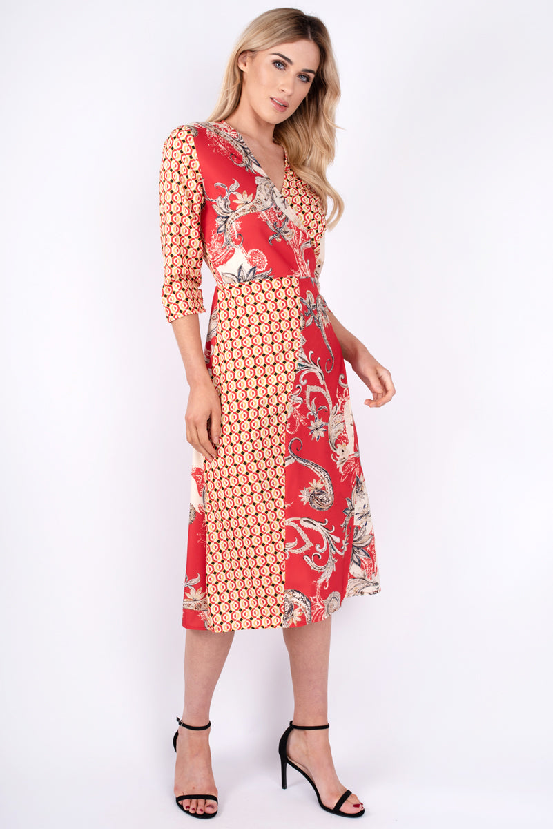 Faye Multi Print Dress - Red