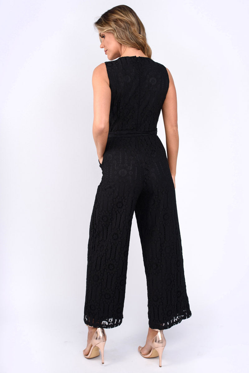 Courtney Crochet Lace Sleeveless Jumpsuit Black