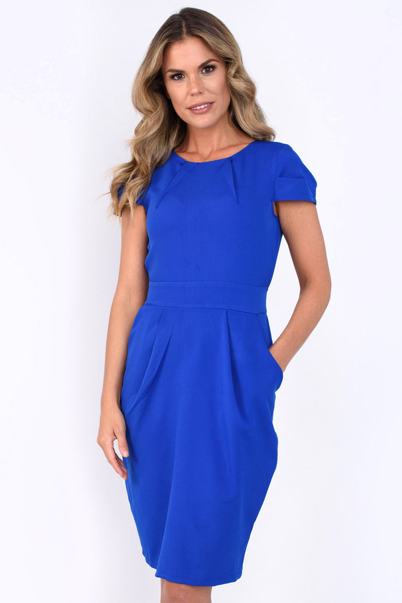 Anna Cap Sleeve Tie Back Dress - Cobalt