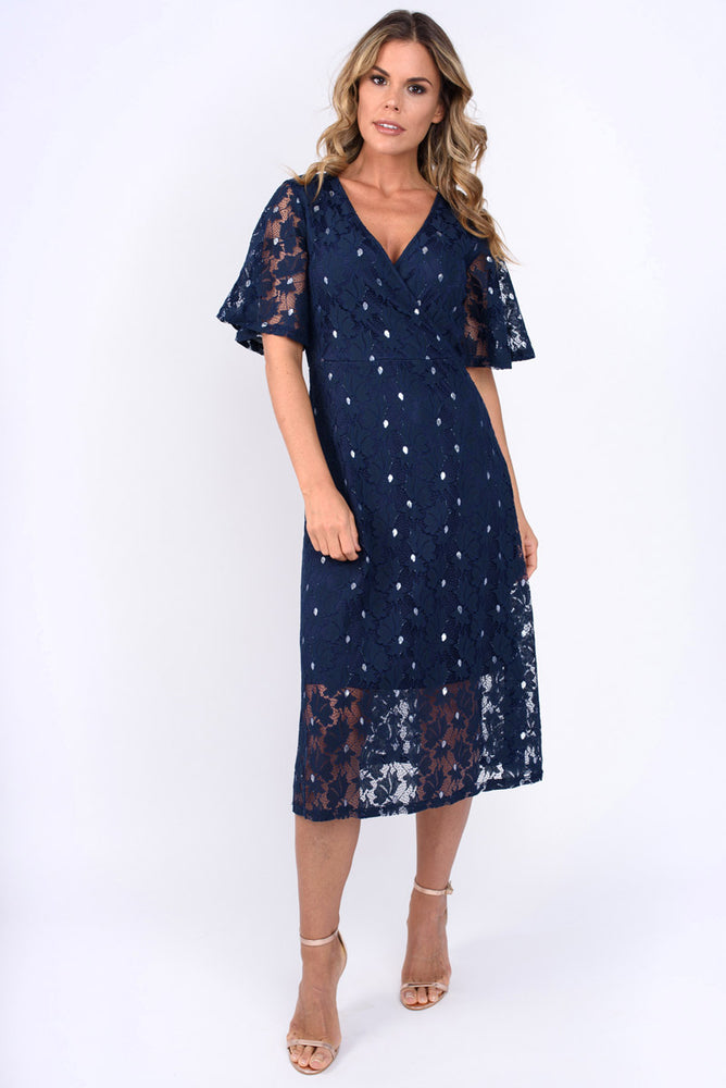 Siena Lace Wrap Over Dress - Navy and Silver Leaf
