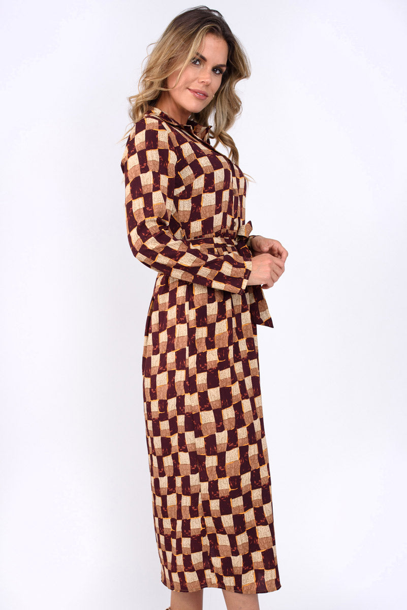 Lauren Wine and Brown Square Print Shirt Midi Dress