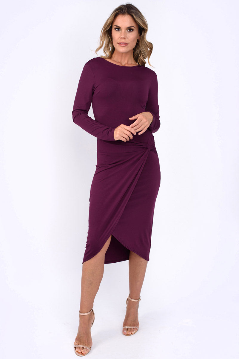 Lylah  Plain Tie Front Midi Dress-Plum