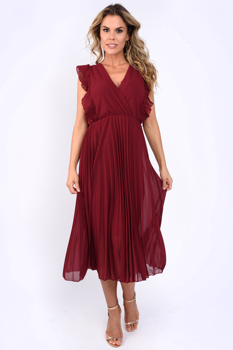 Natalie Frill Sleeve Pleated Midi Dress Wine