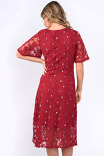 Siena Lace Wrap Over Dress - Wine and Silver Leaf