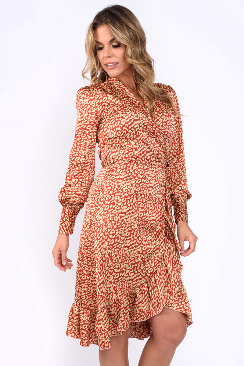 Molly Red And Beige Animal Print Wrap Dress